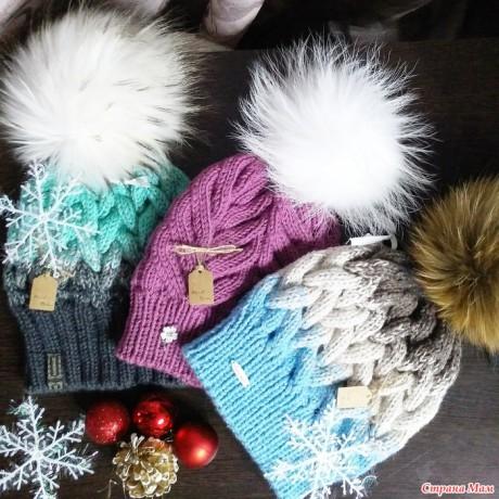 шапки спицами фото