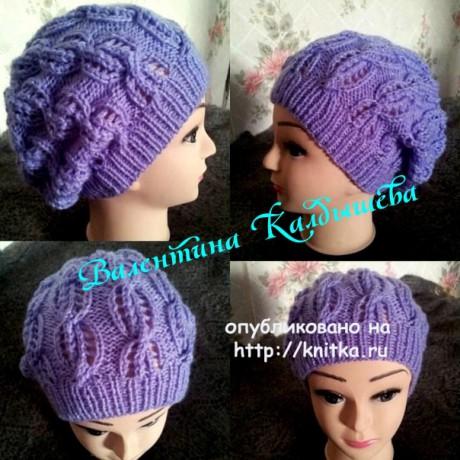 фото женской шапки спицами