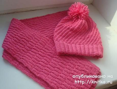 шарф и шапка спицами с описанием