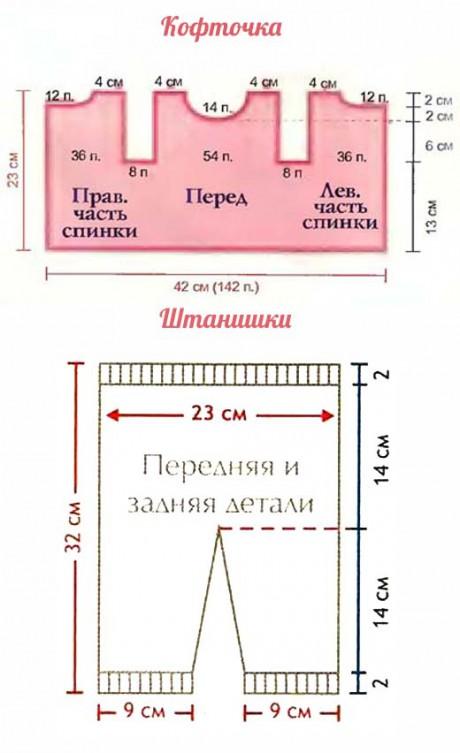 схема вязания и выкройка костюма
