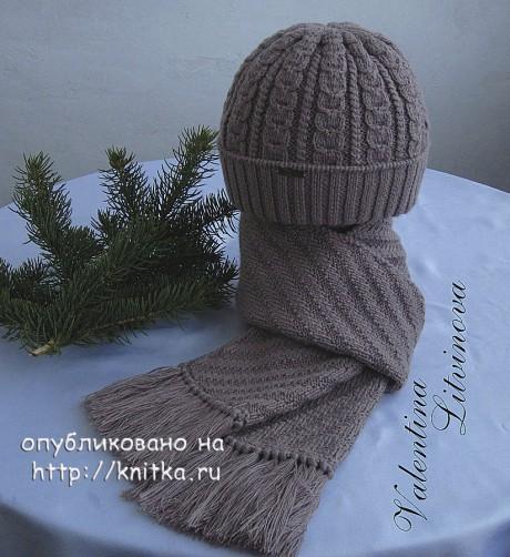 Мужская шапка и шарф спицами. Работы Валентины Литвиновой. Вязание спицами.