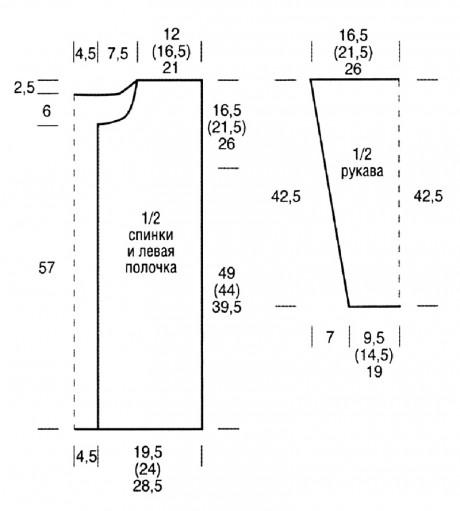 схемы вязания кардигана спицами