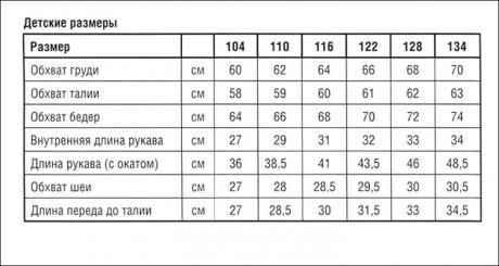 таблица размеров кардиганов