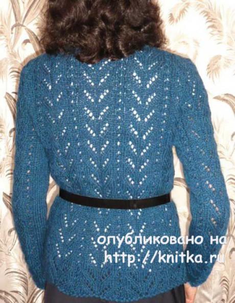 Ажурный кардиган спицами. Работа Марины Ефименко вязание и схемы вязания