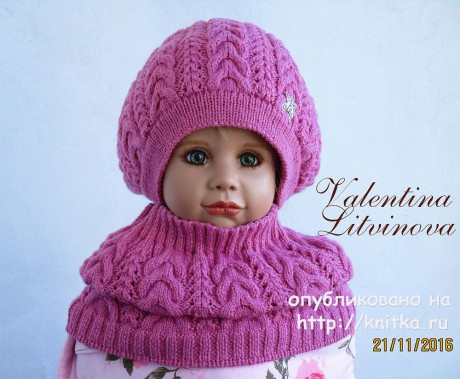 Комплект: шапочка и снуд для девочки спицами. Вязание спицами.