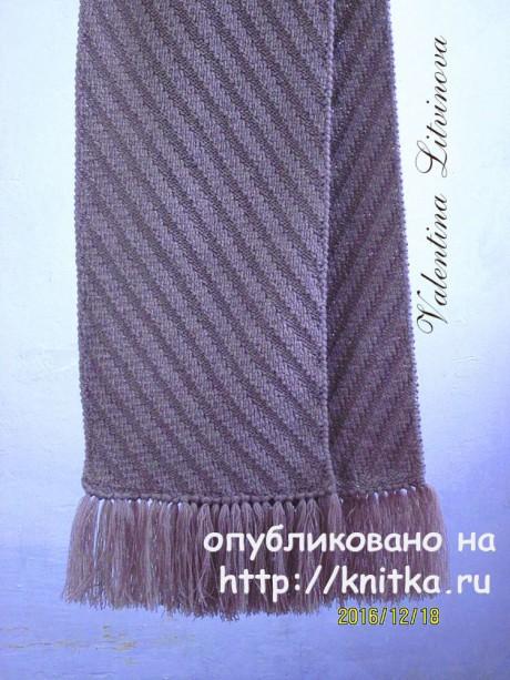 Двухсторонний узор для мужского шарфа спицами