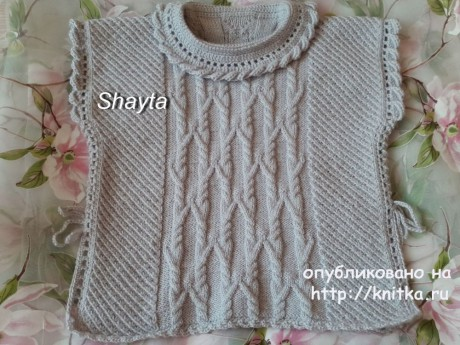 Пончо - пуловер Shayta для девочки. Работа Оксаны Усмановой. Вязание спицами.
