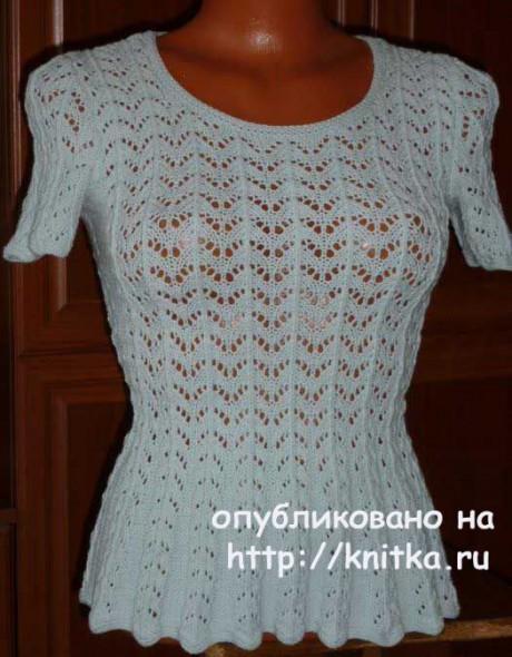 Приталенная кофточка спицами. Работа Марины Ефименко вязание и схемы вязания