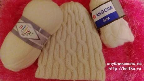 Шапка - бини спицами. Работа Маргариты вязание и схемы вязания