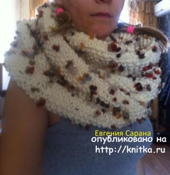 схема для теплого шарфа- хомута спицами