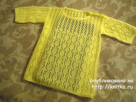 Туника для девочки спицами. Работа Елены Антиповой. Вязание спицами.
