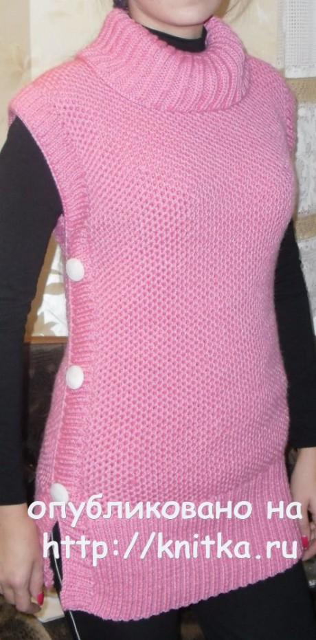 Вязаная спицами туника. Работа Ольги Ярославской вязание и схемы вязания