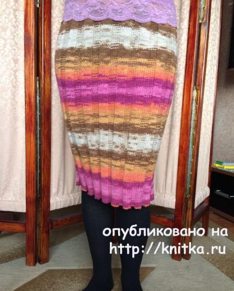 Вязаная спицами юбка. Работа Татьяны. Вязание спицами.