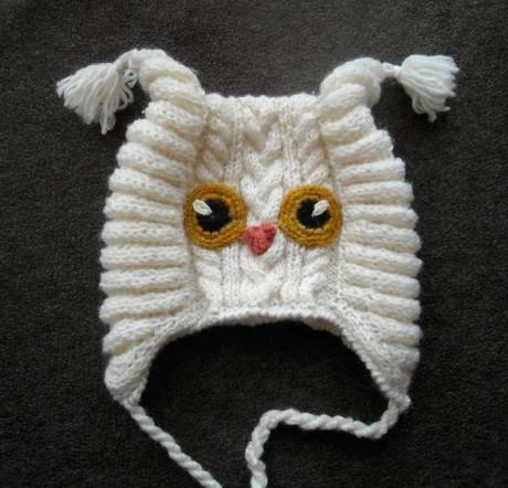 шапка - сова связанная спицами