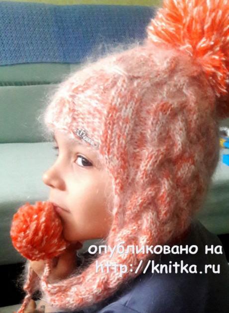 Комплект: шапка - ушанка и шарф - хомут для девочки. Вязание спицами.