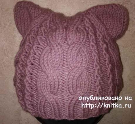 Кото - шапочка спицами. Работа Nataly вязание и схемы вязания