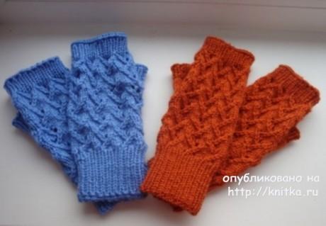 Митенки спицами. Работа Анны Черновой вязание и схемы вязания