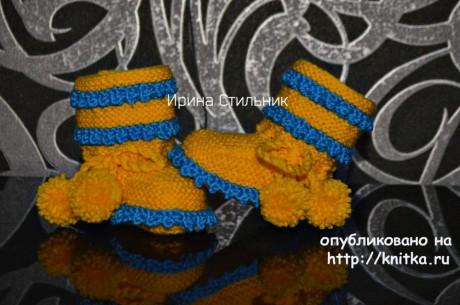 Пинетки с узором кукурузка. Работа Ирины Стильник вязание и схемы вязания