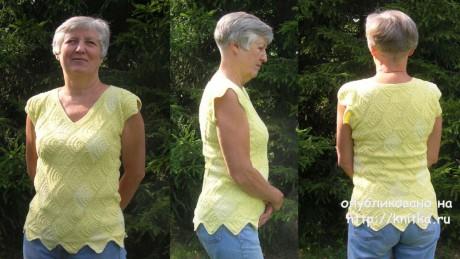 Топ Тюльпанчик. Лоскутное вязание спицами. Работа Татьяны Родионовой вязание и схемы вязания