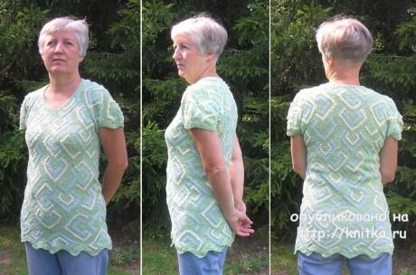 Туника Зеленые ромбики. Лоскутное вязание спицами. Работа Татьяны Родионовой вязание и схемы вязания