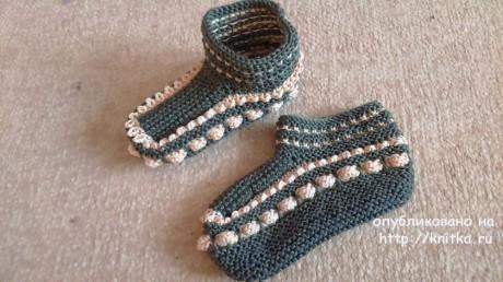 Вязаные тапочки. Работа Татьяны Наконечной вязание и схемы вязания