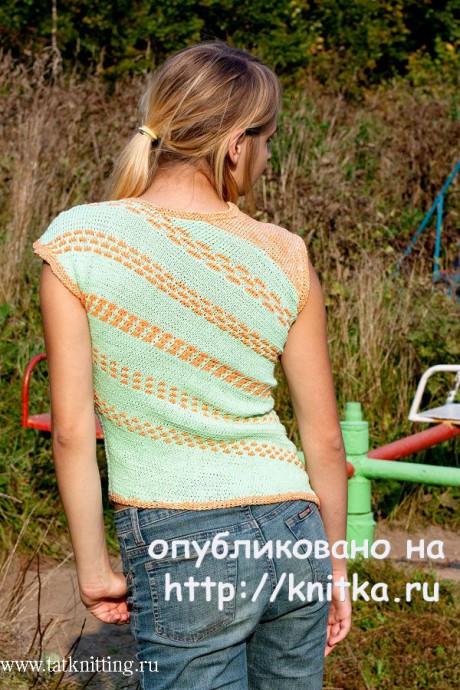 Зеленый топ с ленивыми узорами. Работа Татьяны Родионовой вязание и схемы вязания