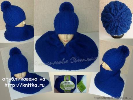 Женская шапка и шарф связанные спицами. Работы Анисимовой Светланы. Вязание спицами.