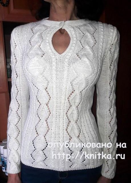 Белый пуловер с красивым вырезом. Работа Марины Ефименко вязание и схемы вязания