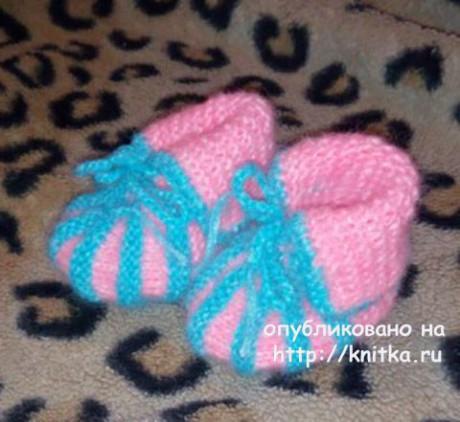 Пинетки спицами. Работа Ирины вязание и схемы вязания