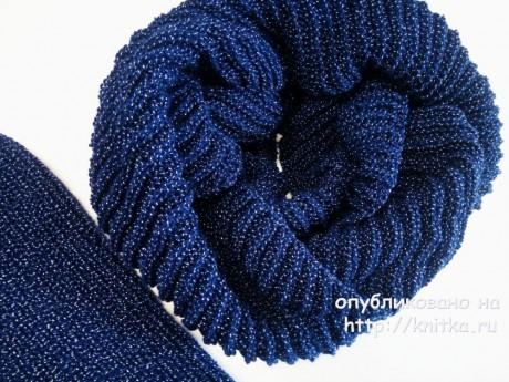 Шапка и снуд спицами. Работа Надежды Юсуповой вязание и схемы вязания