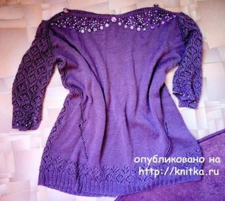 Вязаная спицами кофточка. Работа Надежды Юсуповой вязание и схемы вязания