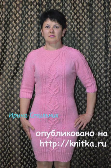 Вязаное спицами платье. Работа Ирины Стильник. Вязание спицами.