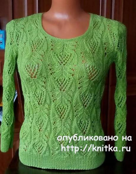 Зеленый джемпер спицами. Работа Марины Ефименко. Вязание спицами.