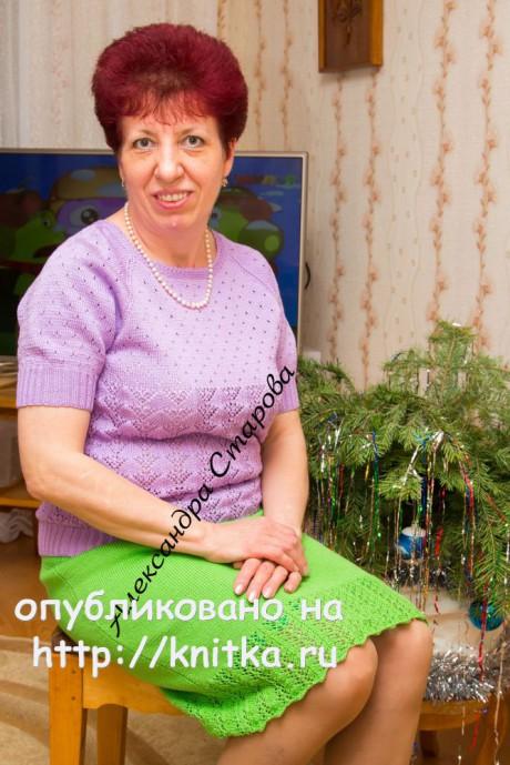 Женский джемпер спицами. Работа Александры Старовой. Вязание спицами.