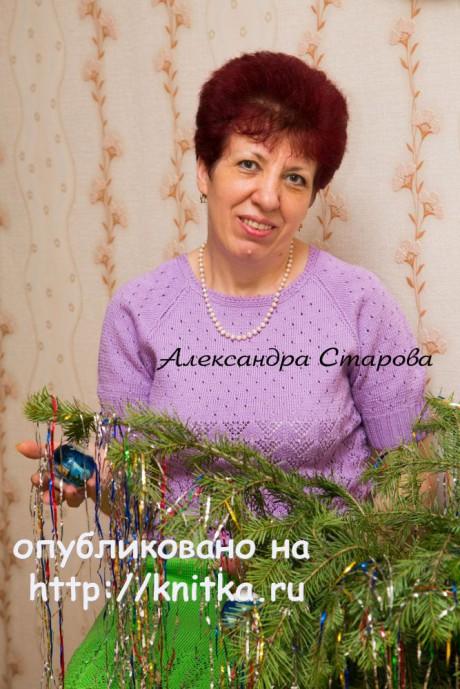Женский джемпер спицами. Работа Александры Старовой вязание и схемы вязания
