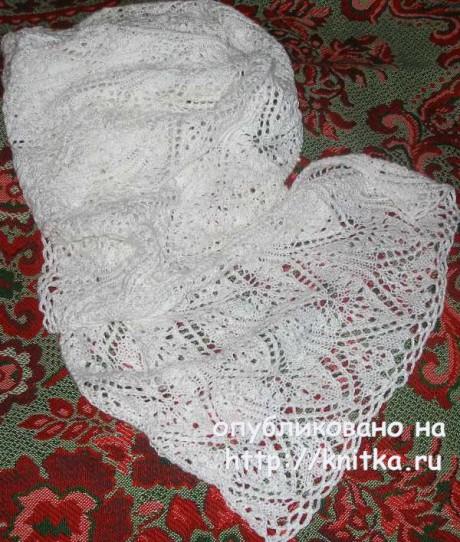Белый ажурный палантин спицами. Работа Елены вязание и схемы вязания