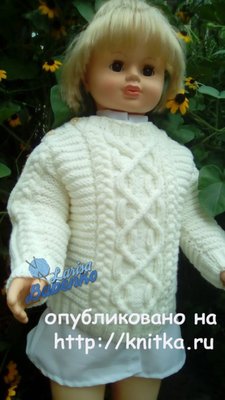 Детский свитер с аранами. Работа Ларисы Бабенко. Вязание спицами.