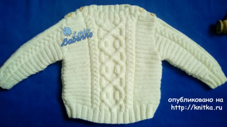 Детский свитер с аранами. Работа Ларисы Бабенко вязание и схемы вязания