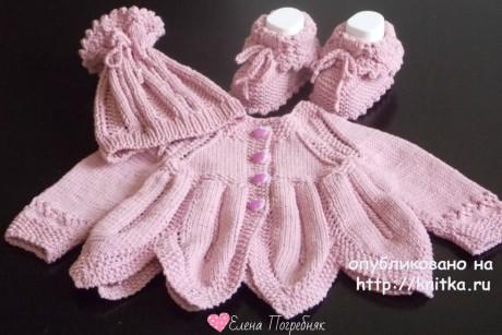 Комплект для новорожденных. Работа Елены Погребняк вязание и схемы вязания