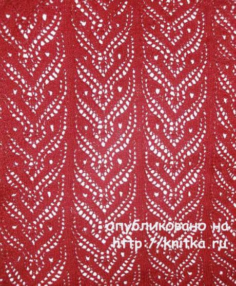 Красный ажурный шарф спицами. Работа Елены вязание и схемы вязания