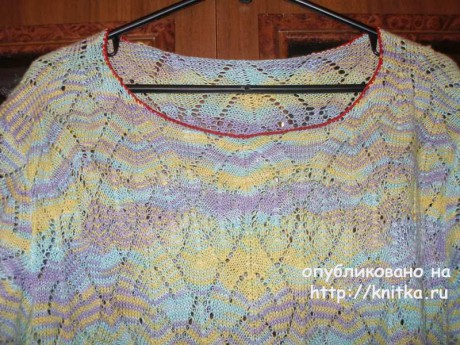 Летняя кофточка спицами. Работа Елены вязание и схемы вязания