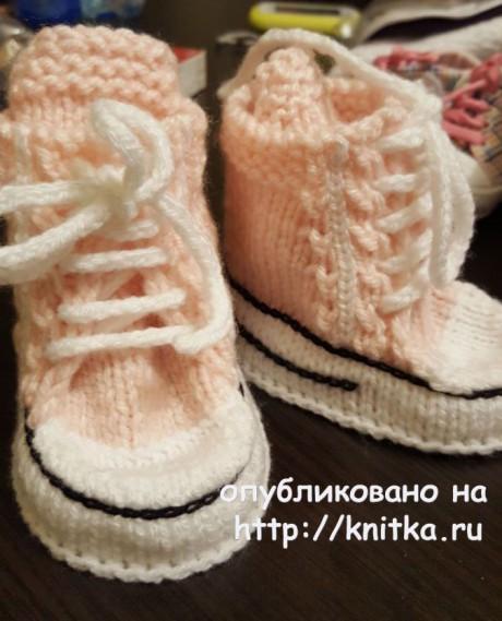 Пинетки - кеды спицами. Работа Людмилы вязание и схемы вязания