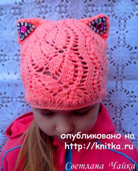 Ажурная шапочка - кошка для девочки спицами