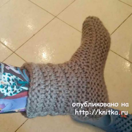 Вязаная спицами женская обувь. Работа Людмилы вязание и схемы вязания