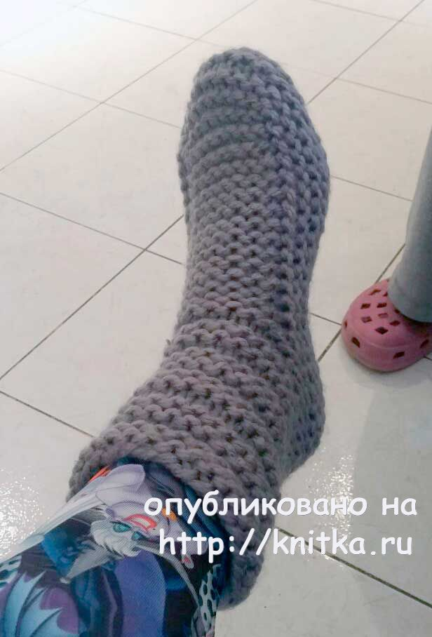 Вязаная спицами женская обувь. Работа Людмилы, Вязание для ...