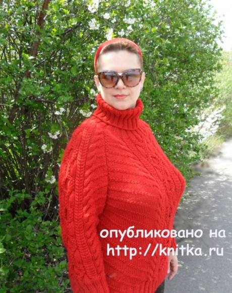 Вязаный спицами свитер с аранами. Работа Светлана Шевченко вязание и схемы вязания
