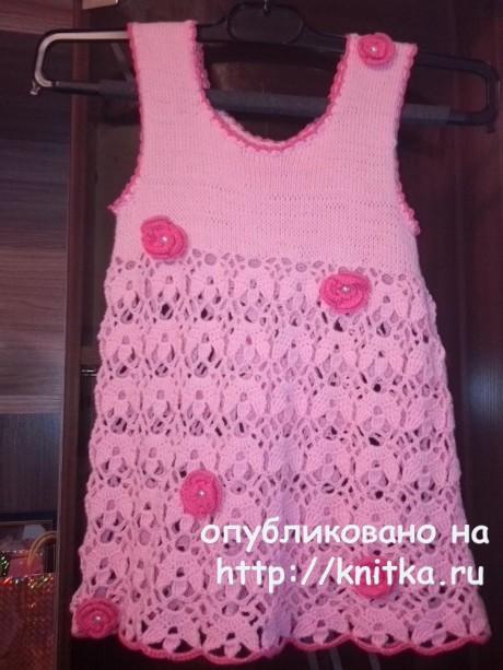 Вязаный топ для девочки с цветами. Работа Ивановой Светланы вязание и схемы вязания