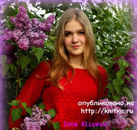 Ажурная женская кофта спицами,  работа Inna Aliyeva