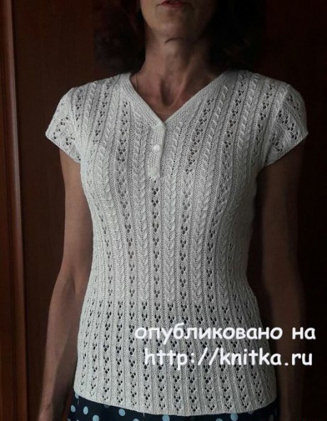 Ажурная кофточка спицами. Работа Марины Ефименко. Вязание спицами.
