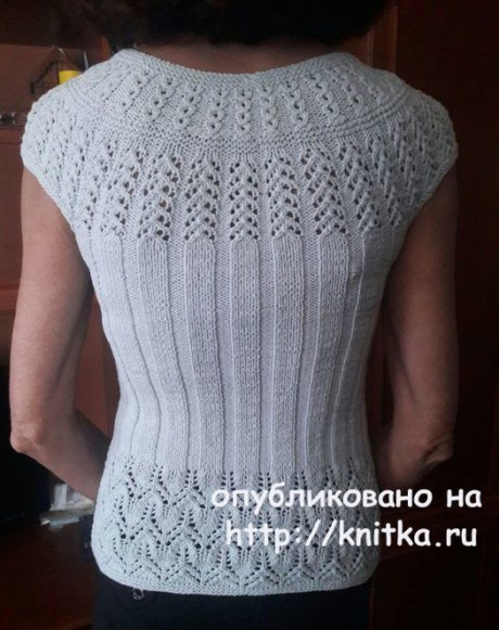 Топ на круглой кокетке спицами. Работа Марины Ефименко вязание и схемы вязания